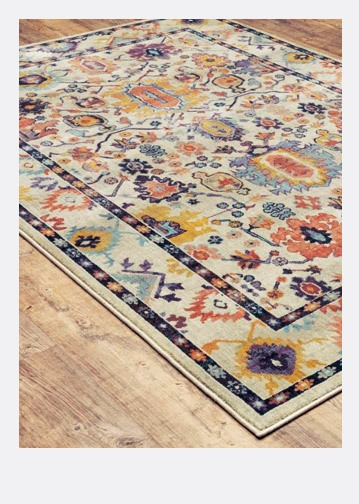colorful rug on a wooden floor