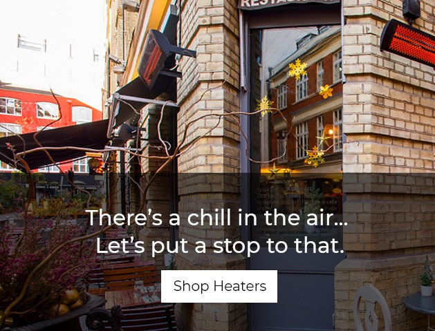 A trendy restaraunt featuring outdoor heaters. Shop All Heaters.