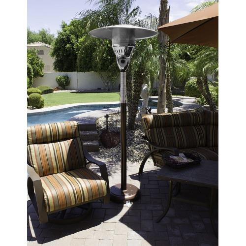 "AZ Patio Heaters NG-SS 87"" Tall Natural Gas Patio Heater With Table"