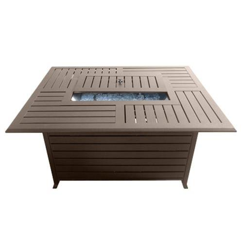 "AZ Patio Heaters FS-1010-T-12 49.5"" Rectangle Aluminum Slatted Fire Pit"