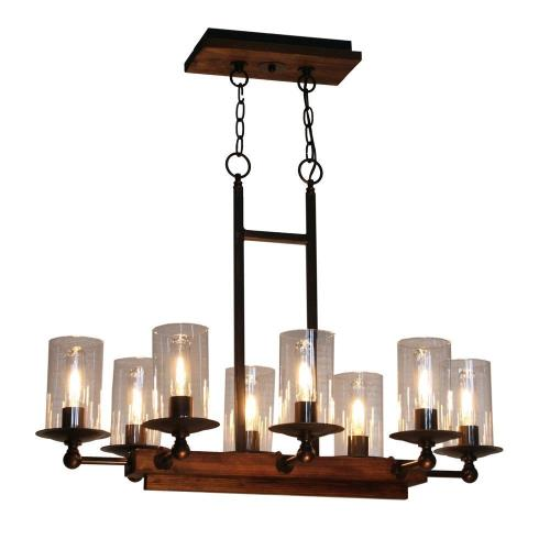 Artcraft Lighting AC10148 Legno Rustico - Eight Light Island