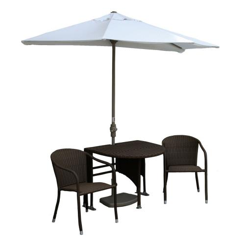 Blue Star Group TMAC9OHC Terrace Mates Adena - 9'  Half-Canopy Umbrella with Half-Round Table Set