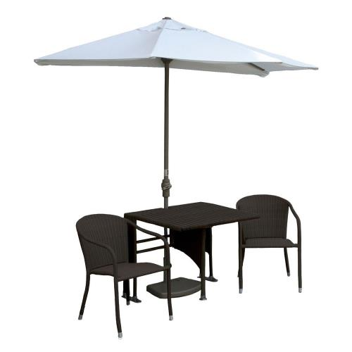 Blue Star Group TMDC9T Terrace Mates Daniella - 9'  Half-Canopy Umbrella with Square Table Set