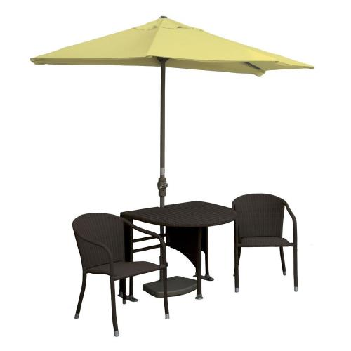 Blue Star Group TMGC7OG Terrace Mates Genevieve - 7.5'  Half-Canopy Umbrella with Half-Oval Table Set