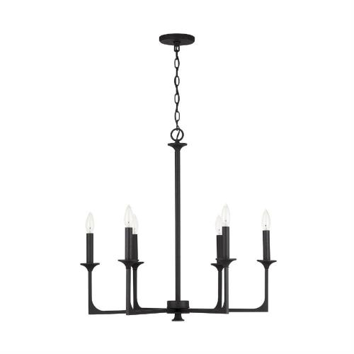 Capital Lighting 437361 Clint - Chandelier 6 Light Black Iron Metal - in Transitional style - 28 high by 27.5 wide