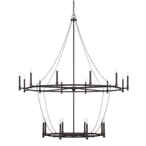 Capital Lighting 528702BI Lancaster - 2-Tier Chandelier 20 Light Black Iron - in Industrial style - 60 high by 67.75 wide