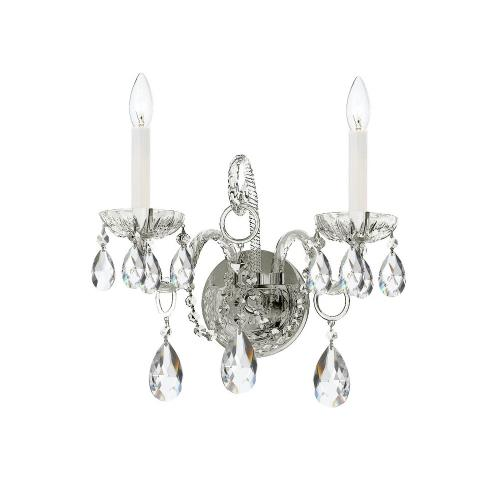 Crystorama Lighting 1122-CH-CL Traditional Crystal - 12 Inch Two Light Wall Sconce