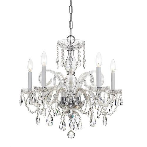 Crystorama Lighting 1005 Crystal Crystal 5 Light Chandelier in classic, elegant, and casual Style - 22 Inches Wide by 21 Inches High