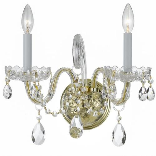 Crystorama Lighting 1032-PB-CL Traditional Crystal - 15 Inch Two Light Wall Sconce