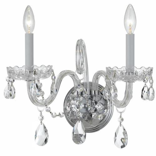 Crystorama Lighting 1032-PB-CL Crystal - Two Light Wall Sconce in classic, elegant, and casual Style - 15 Inches Wide by 12.5 Inches High