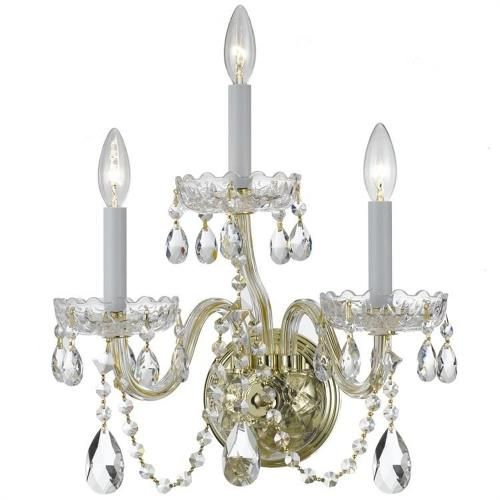 Crystorama Lighting 1033-PB-CL Traditional Crystal - 9 Inch Three Light Wall Sconce