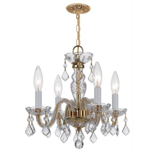 Crystorama Lighting 1064 Crystal - Four Light Mini Chandelier in traditional and contemporary Style - 15 Inches Wide by 12 Inches High