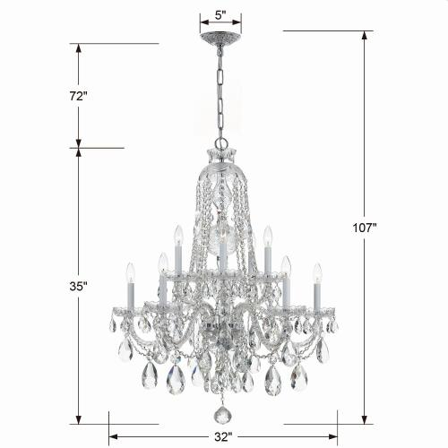 Crystorama Lighting 1110 Crystal - Five Light Chandelier in classic, elegant, and casual Style - 32 Inches Wide by 36 Inches High