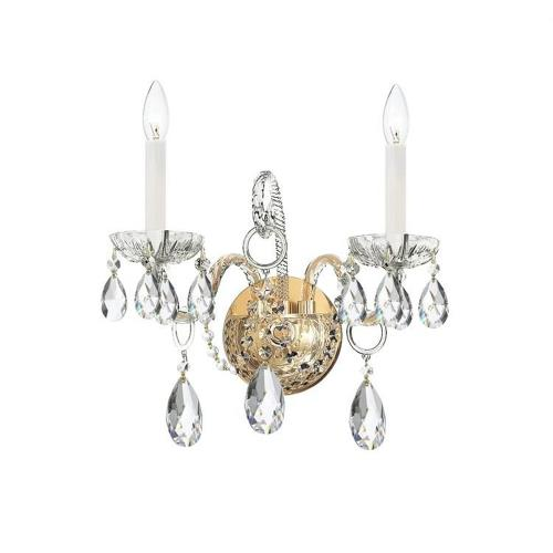 Crystorama Lighting 1122 Crystal - Two Light Wall Sconce in classic, elegant, and casual Style - 14 Inches Wide by 12 Inches High