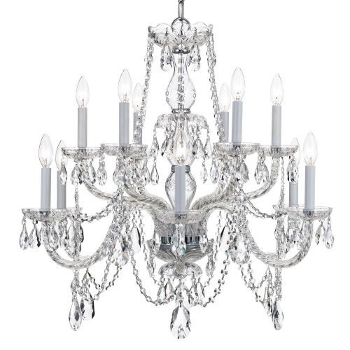 Crystorama Lighting 1135 Crystal - Twelve Light 2-Tier Chandelier in classic, elegant, and casual Style - 31 Inches Wide by 26 Inches High