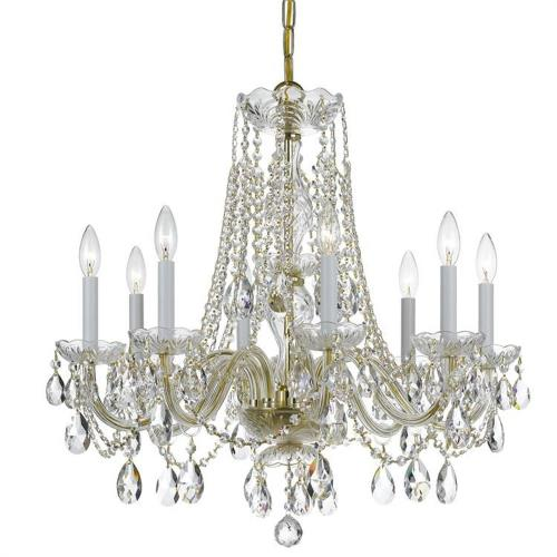 Crystorama Lighting 1138 Crystal - Eight Light Chandelier in classic, elegant, and casual Style - 26 Inches Wide by 26 Inches High