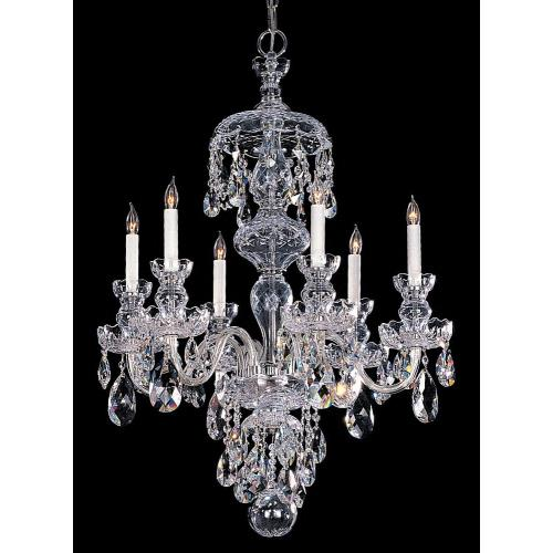 Crystorama Lighting TC-6C Crystal - 6 Light Chandelier in classic, elegant, and casual Style - 26 Inches Wide by 24 Inches High