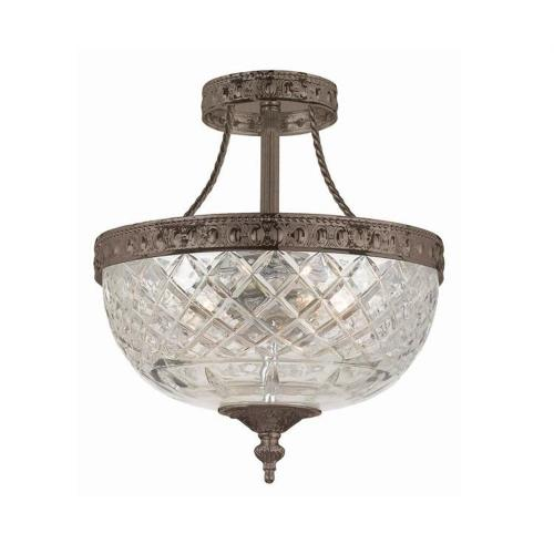 Crystorama Lighting 118-10 Richmond 3 Light Ceiling Mount Cast Brass in traditional and contemporary Style - 10 Inches Wide by 12 Inches High