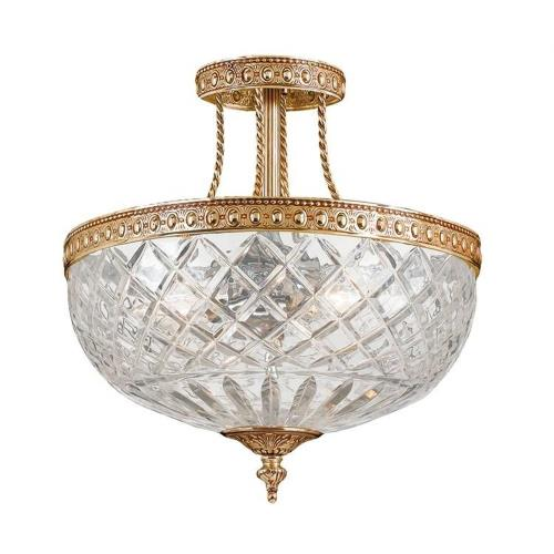 Crystorama Lighting 118-12 Richmond 3 Light Ceiling Mount Cast Brass in traditional and contemporary Style - 12 Inches Wide by 13.5 Inches High