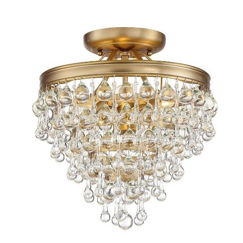 Crystorama Lighting 130_CEILING Calypso - Three Light Semi-Flush Mount in traditional and contemporary Style - 13 Inches Wide by 14 Inches High