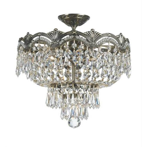 Crystorama Lighting 1483 Majestic Crystal 3 Light Ceiling Mount Cast Brass