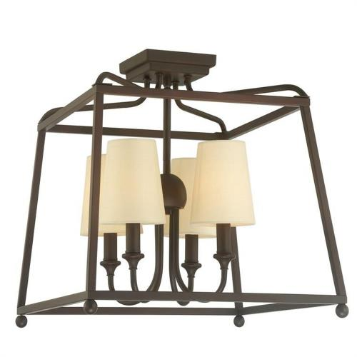 Crystorama Lighting 2243 Sylvan - Four Light Flush Mount with Linen Fabric Shades in classic, elegant, and casual  Style - 16 Inches Wide by 15.5 Inches High