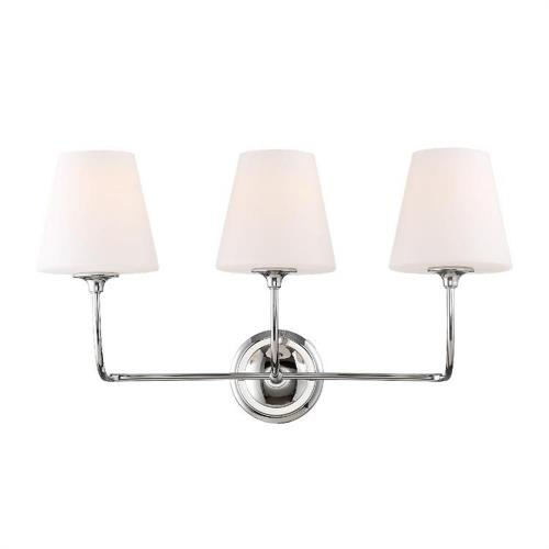 Crystorama Lighting 2443-OP Sylvan 3 Light Bath Vanity in classic, elegant, and casual  Style - 23.25 Inches Wide by 13.25 Inches High