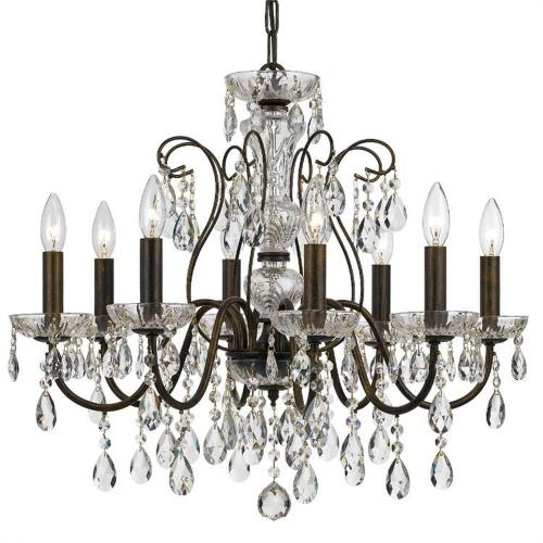 Crystorama Lighting 3028 Butler - 8 Light Chandelier in minimalist  Style - 25.5 Inches Wide by 22 Inches High