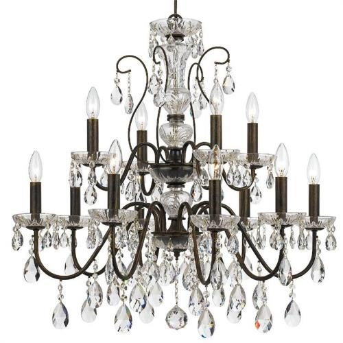 Crystorama Lighting 3029 Butler - 12 Light Chandelier in minimalist Style - 29 Inches Wide by 29 Inches High