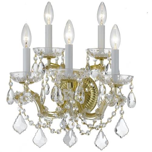 Crystorama Lighting 4404 Maria Theresa - Five Light Wall Sconce in classic, elegant, and casual Style - 13.5 Inches Wide by 16 Inches High