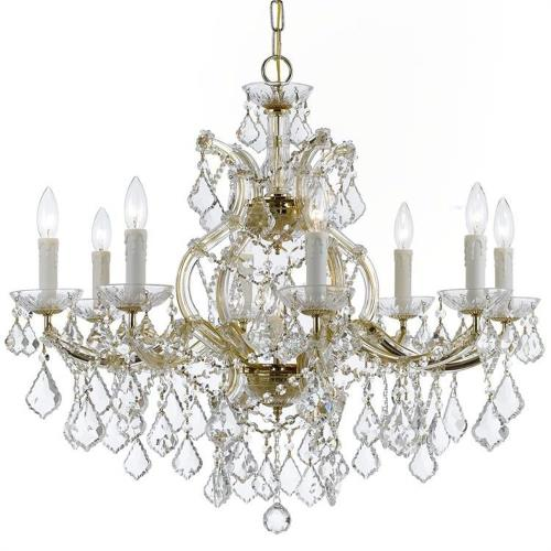 Crystorama Lighting 4408-CL-S Maria Theresa - Nine Light Chandelier in classic, elegant, and casual Style - 26 Inches Wide by 23 Inches High