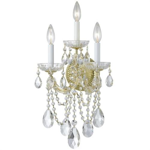 Crystorama Lighting 4423 Maria Theresa - Three Light Wall Sconce in natural, organic, and raw Style - 11 Inches Wide by 22.5 Inches High