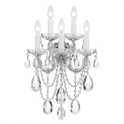 Crystorama Lighting 4425 Maria Theresa - Five Light Wall Sconce in natural, organic, and raw Style - 13.5 Inches Wide by 22.5 Inches High