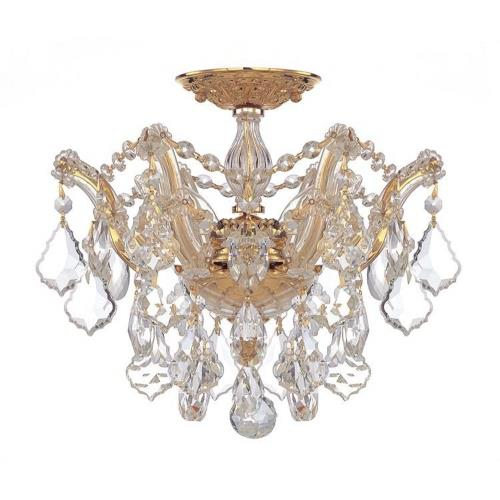 Crystorama Lighting 4430 Maria Theresa - 3 Light Flush Mount in natural, organic, and raw Style - 13.5 Inches Wide by 11.5 Inches High