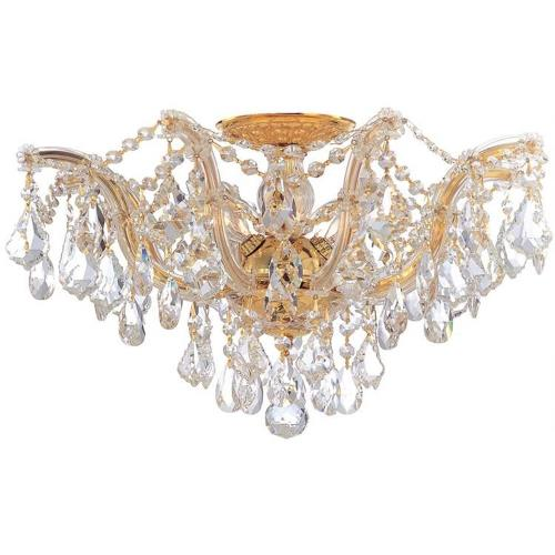 Crystorama Lighting 4437 Maria Theresa Collection Crystal 5 Light Ceiling Mount in natural, organic, and raw Style - 19 Inches Wide by 11.5 Inches High