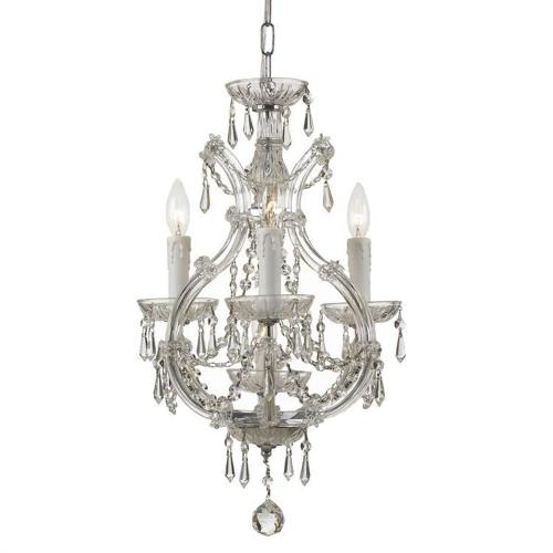 Crystorama Lighting 4473 Maria Theresa - Three Light Mini Chandelier in classic, elegant, and casual Style - 12 Inches Wide by 21 Inches High