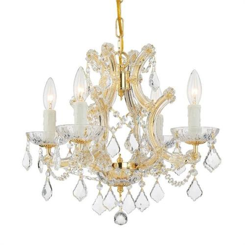 Crystorama Lighting 4474 Maria Theresa - Four Light Mini Chandelier in classic, elegant, and casual Style - 16.5 Inches Wide by 15 Inches High