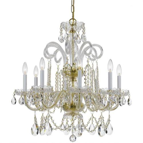 Crystorama Lighting 5008 Crystal - Eight Light Chandelier in classic, elegant, and casual Style - 27 Inches Wide by 27 Inches High