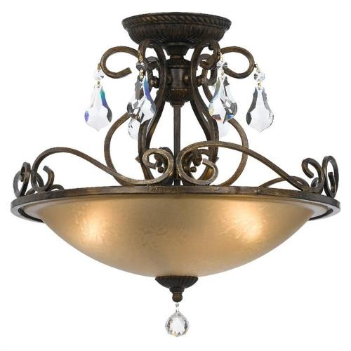 Crystorama Lighting 5010 Ashton - Three Light Semi-Flush Mount in natural, organic, and raw Style - 16.5 Inches Wide by 16.25 Inches High