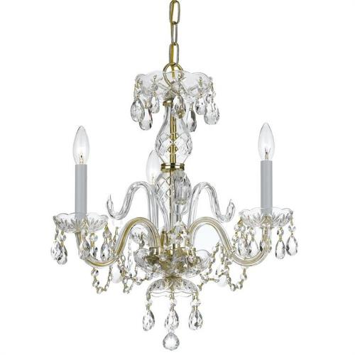 Crystorama Lighting 5044 Crystal - Three Light Mini Chandelier in classic, elegant, and casual Style - 16 Inches Wide by 18 Inches High