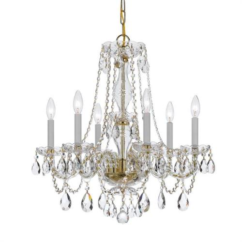 Crystorama Lighting 5086S Crystal - Six Light Chandelier in natural, organic, and raw Style - 23 Inches Wide by 25 Inches High