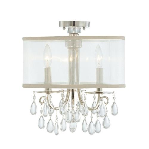 Crystorama Lighting 5623_CEILING Hampton - Three Light Semi-Flush Mount in minimalist Style - 14 Inches Wide by 17 Inches High