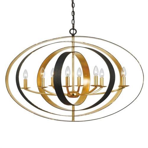 Crystorama Lighting 588-EB-GA Luna - Eight Light Oval Chandelier