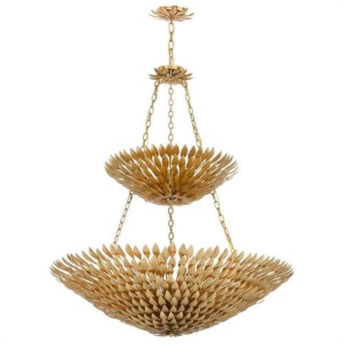 Crystorama Lighting 59-B Broche - Eitheen Light Antique Leaf Pendant Chandelier