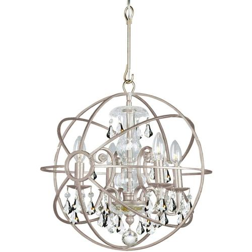Crystorama Lighting 9025 Solaris - Four Light Mini Chandelier in minimalist Style - 17 Inches Wide by 18.75 Inches High