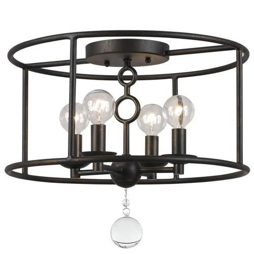 Crystorama Lighting 9267 Cameron Industrial 4 Light Ceiling Mount Wrought Iron