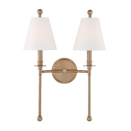 Crystorama Lighting RIV-383 Riverdale - 2 Light Wall Mount in classic, elegant, and casual  Style - 15 Inches Wide by 14.5 Inches High