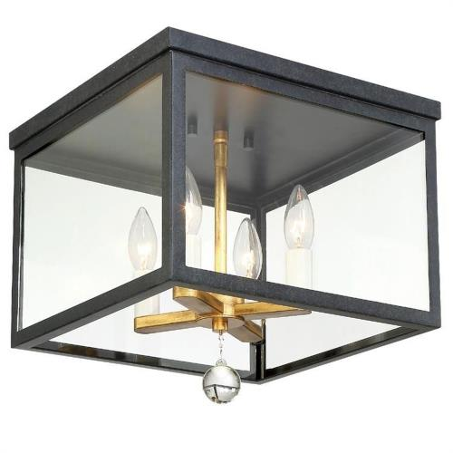 Crystorama Lighting WES-9900-BK-GA Weston - Four Light Flush Mount in classic, elegant, and casual Style - 12.75 Inches Wide by 12 Inches High