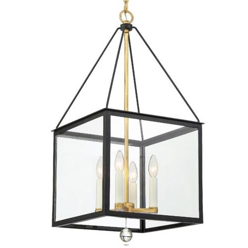 Crystorama Lighting WES-9905-BK-GA Weston - Four Light Hanging Lantern in classic, elegant, and casual Style - 14 Inches Wide by 29.5 Inches High