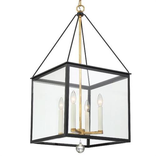 Crystorama Lighting WES-9907-BK-GA Weston - 34.38 Inch Four Light Hanging Lantern